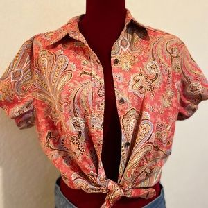 60's Style Print Buttoned Blouse